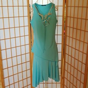 One Love Turquoise Blue 2 Piece Set Top and Skirt